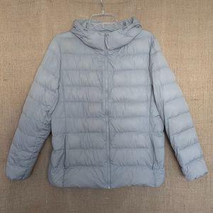 UNIQLO Womens Puffer Jacket Coat Hood Down Gray XL
